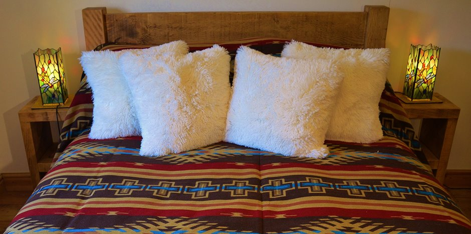 Double bed at Marsh Royd Barn